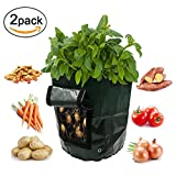 2-Pack 10 Gallon Garden Potato Grow Bag Heavy Duty Vegetables Planter Bags with Handles and Access Flap for Potato, Carrot Onion Photo, new 2018, best price $20.99 review