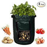 SOME 4-Pack 10 Gallon Potato Grow Bags Garden Vegetables Planter Bags with Access Flap and Handles Heavy Duty Aeration Fabric Pots Photo, new 2019, best price $59.99 review