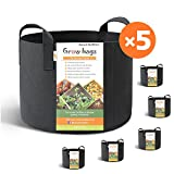 HONEST OUTFITTERS 5-Pack 10 Gallon smart Grow Bags for Potato/Plant Container/Aeration Fabric Pots With Handles (Black) Photo, new 2018, best price $30.99 review
