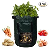 SOME 2-Pack 7 Gallon Potato Grow Bags Garden Vegetables Planter Bags with Access Flap and Handles Heavy Duty Aeration Fabric Pots Photo, new 2018, best price $24.99 review