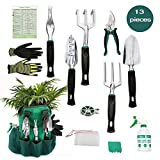AYUBOOM Garden Hand Tools,Garden Tool Set,Gardening gifts,13 Piece Gardening Kit, Garden Gifts for Men & Women,Durable Storage Bag, Garden Gloves,Seeds Bag,Plant Labels,Garden Tie Photo, new 2018, best price $49.99 review