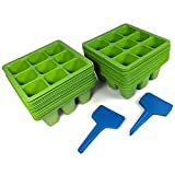 Toil in the Soil 9-Cell Seed Planter - Germination Trays with Drain Holes, Pack of 40 with Plant Labels, Efficiently Transfers Heat, Promotes Root Growth for Transplanting Ease (Assorted Colors) Photo, new 2018, best price $10.99 review