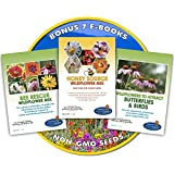 Wildflower Seeds Bulk + 7 BONUS Gardening eBooks + Open-Pollinated Wildflower Seeds, 1oz Packets, Non-GMO, No Fillers, Annual, Perennial Wildflower Seeds Year Round Planting, Bees Pollinators Photo, new 2017, best price $16.49 review