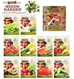 VEGETABLES SEEDS, 10 SEED PACKS, 100% CERTIFIED ORGANIC Non GMO - Vegetable Assortment- No Gardening Experience Required Popular varieties of Easy to Grow Seeds Photo, new 2018, best price $27.92 review