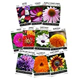 Sow Right Seeds Flower Garden Collection - Sunflower, Marigold, Zinnia, Cosmos, Daisy, Calendula, Coneflower, Aster, and Bachelor's Button; Full instructions for planting, Wonderful gardening gifts Photo, new 2018, best price $29.99 review